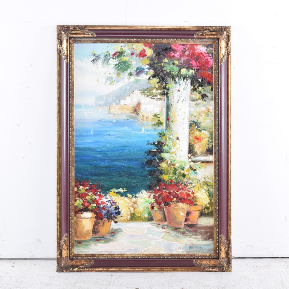 Marcoux Oil Painting on Canvas of Amalfi Coast Landscape