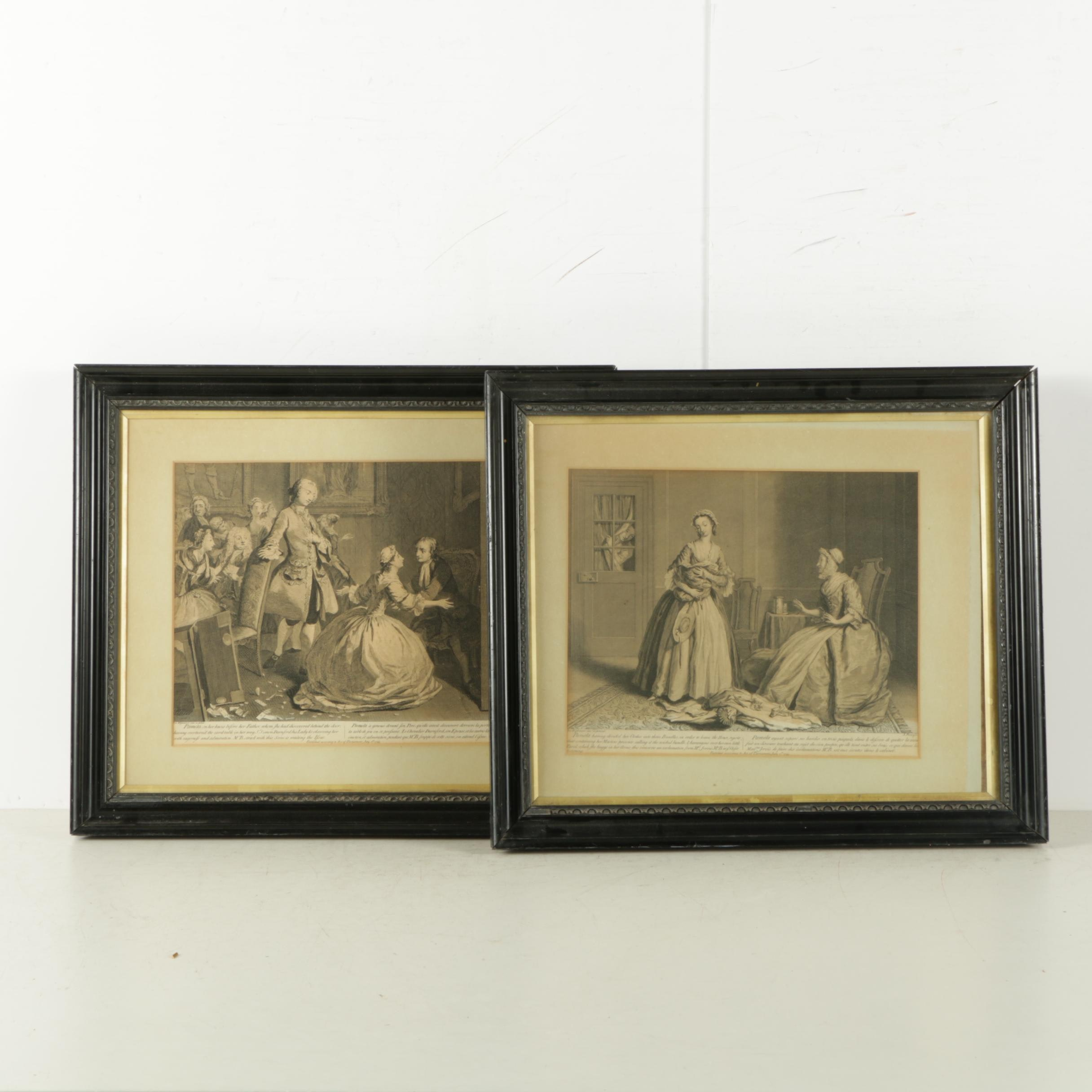 """18th Century Engravings From """"Pamela; or, Virtue Rewarded"""" After Joseph Highmore"""