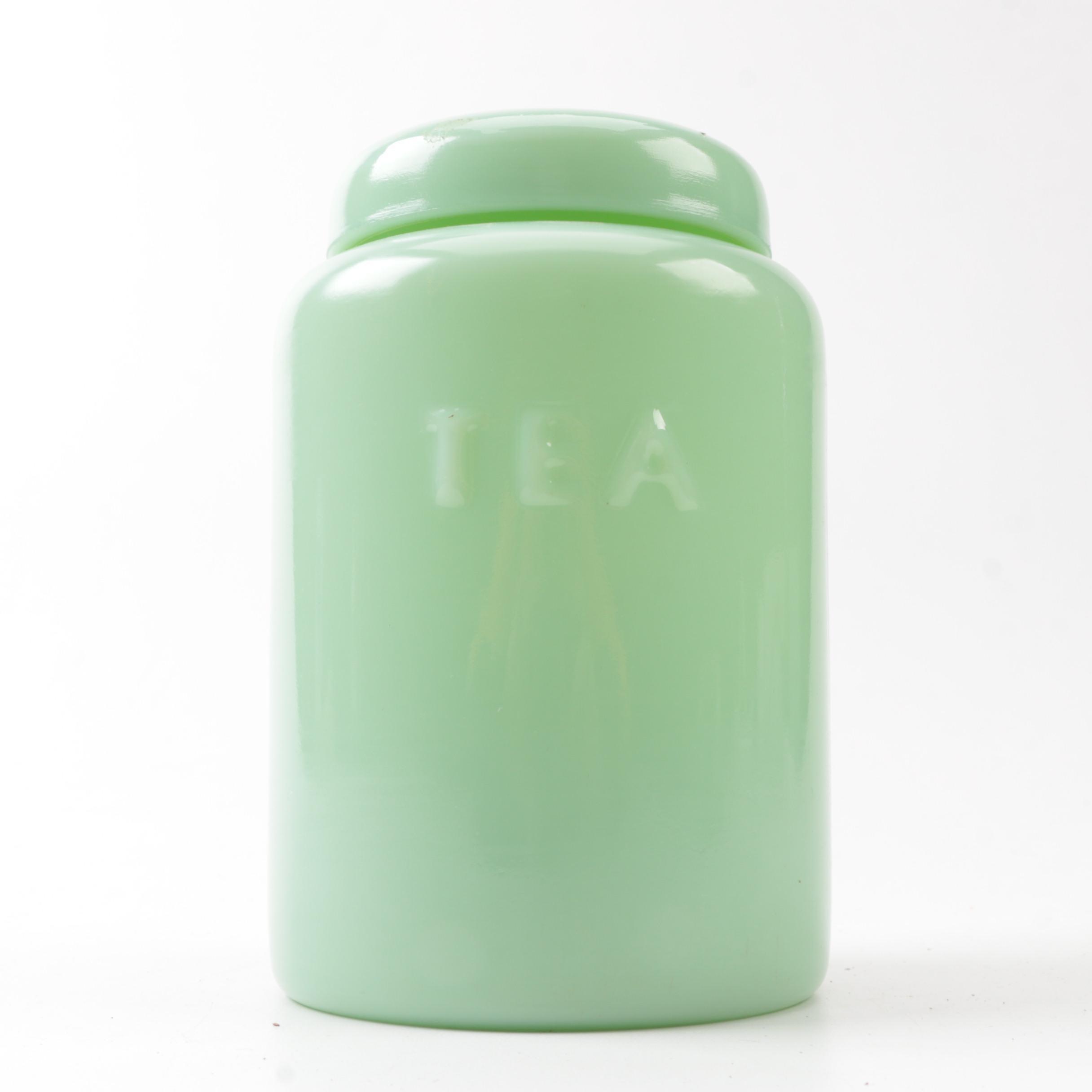 """Vintage """"Jadeite"""" Glass Tea Jar"""