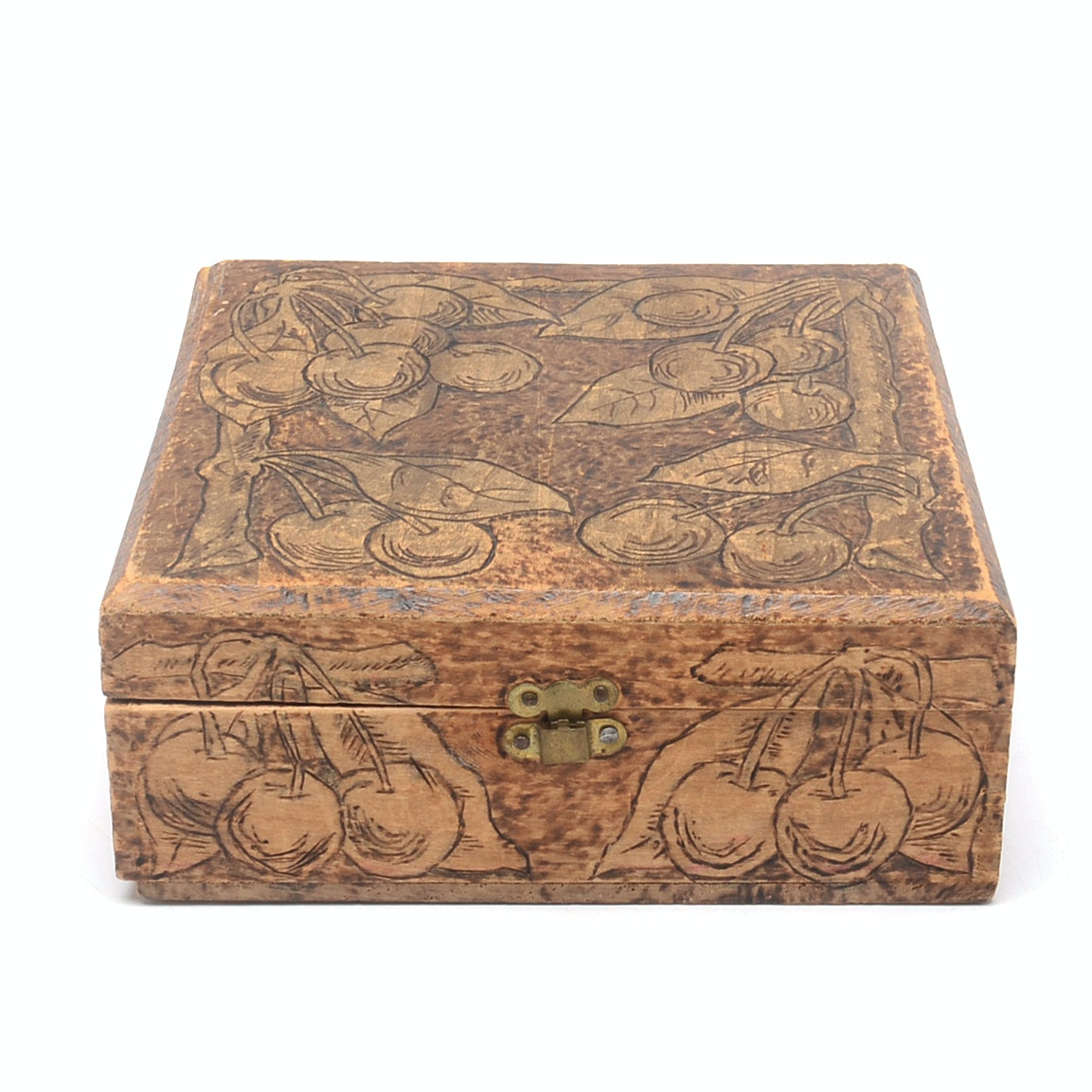 Vintage Pyrographic Jewelry Box
