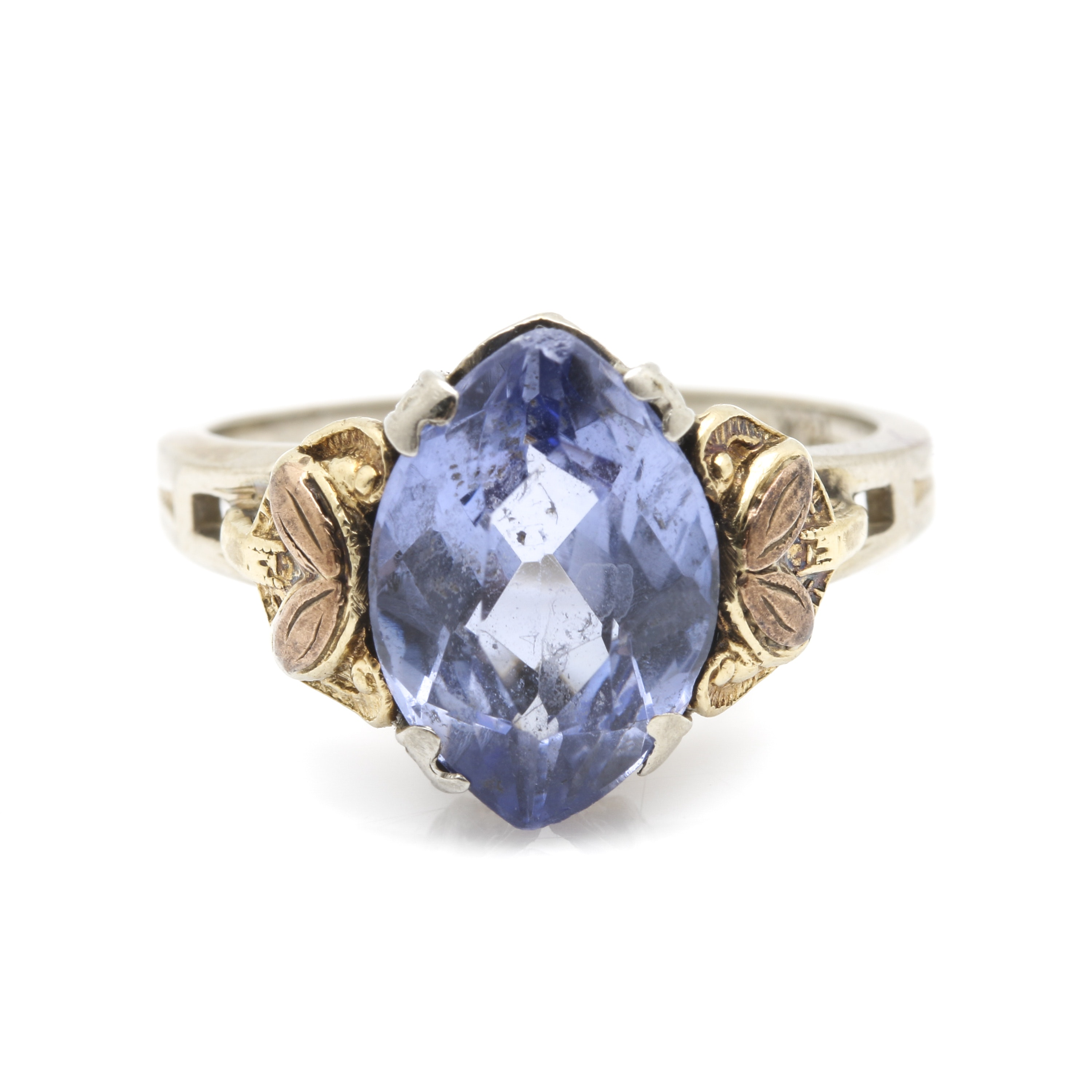 10K and 14K Mixed Metal Sapphire Ring