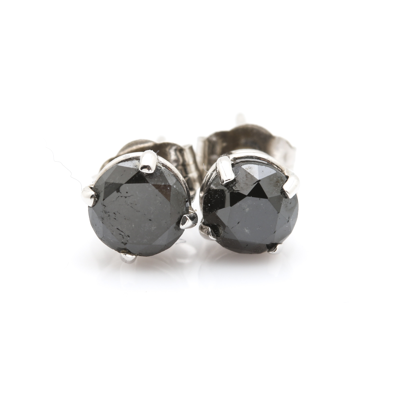 14K White Gold Black Diamond Stud Earrings