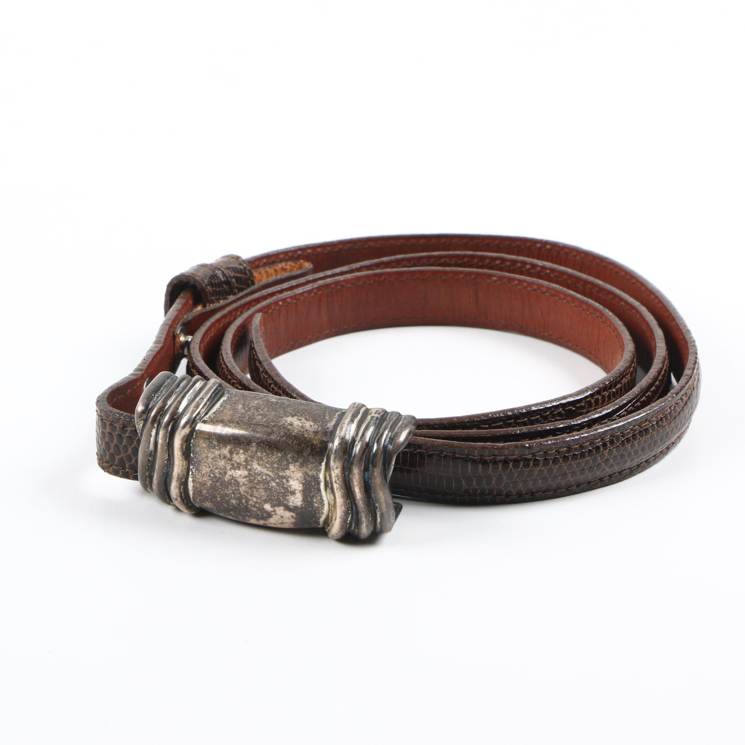 Barry Kieselstein-Cord Reptile Embossed Leather Belt with Sterling Silver Buckle