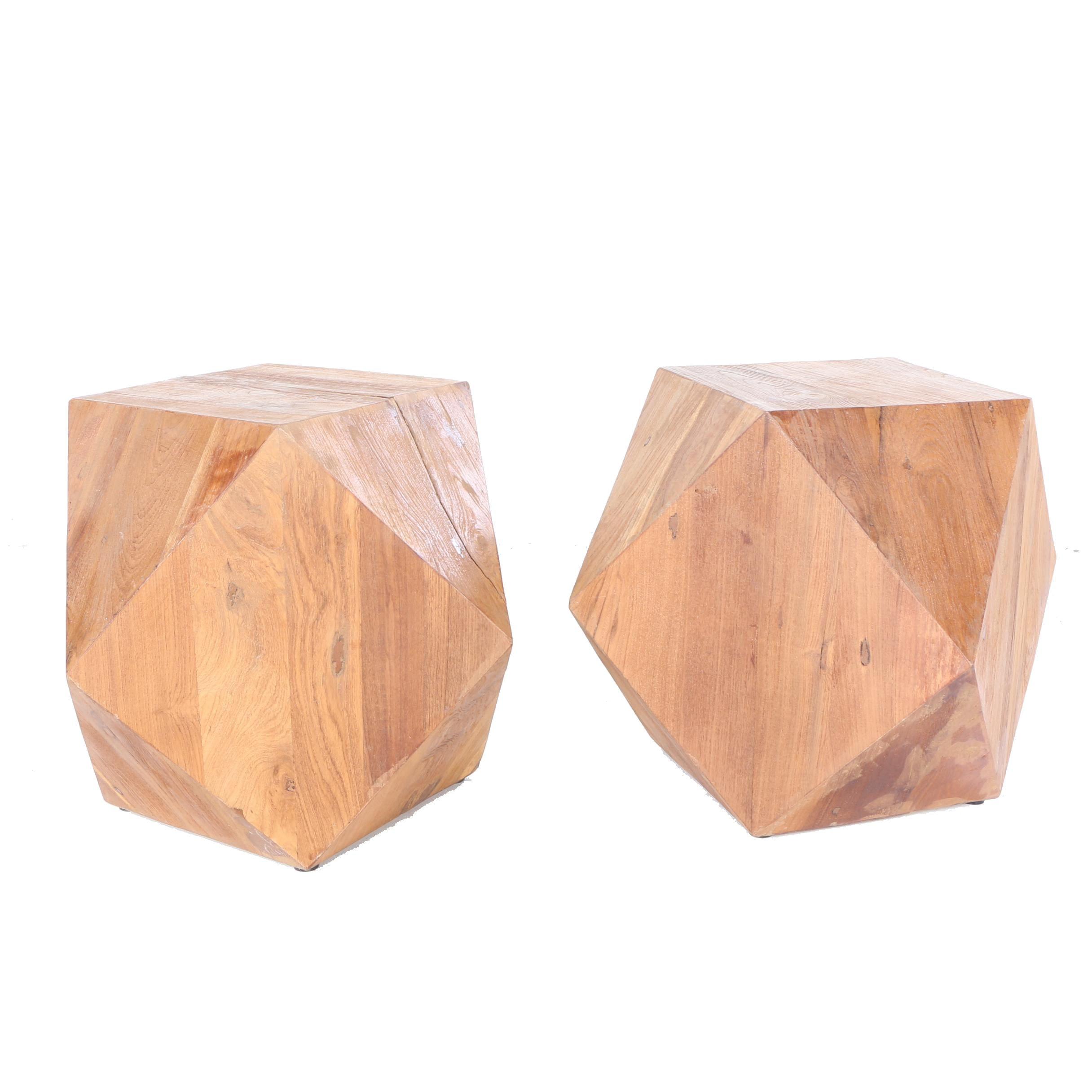 Pair of Geometric Cut Oak Side Tables