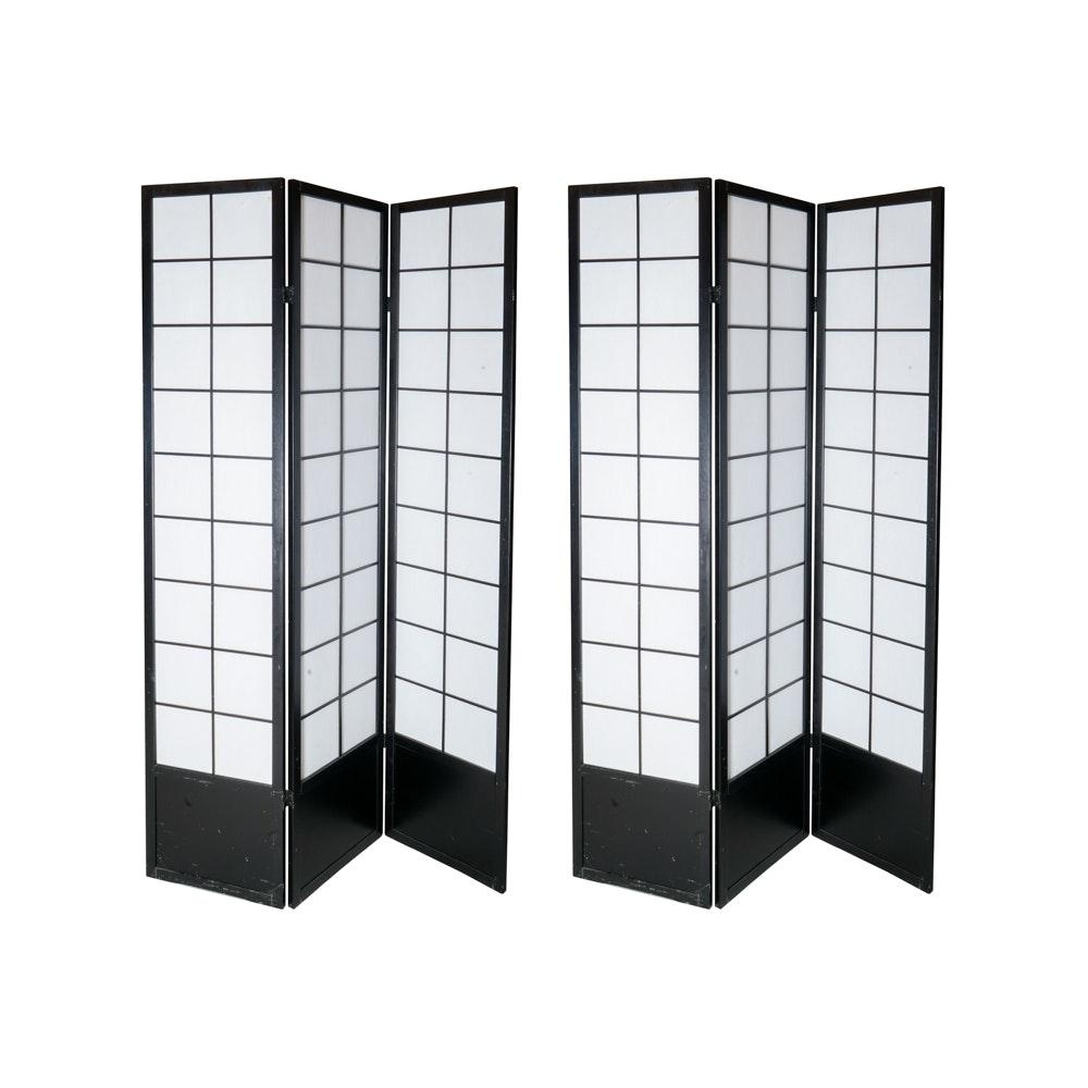 Pair of Windowpane Shoji Screen Style Room Dividers