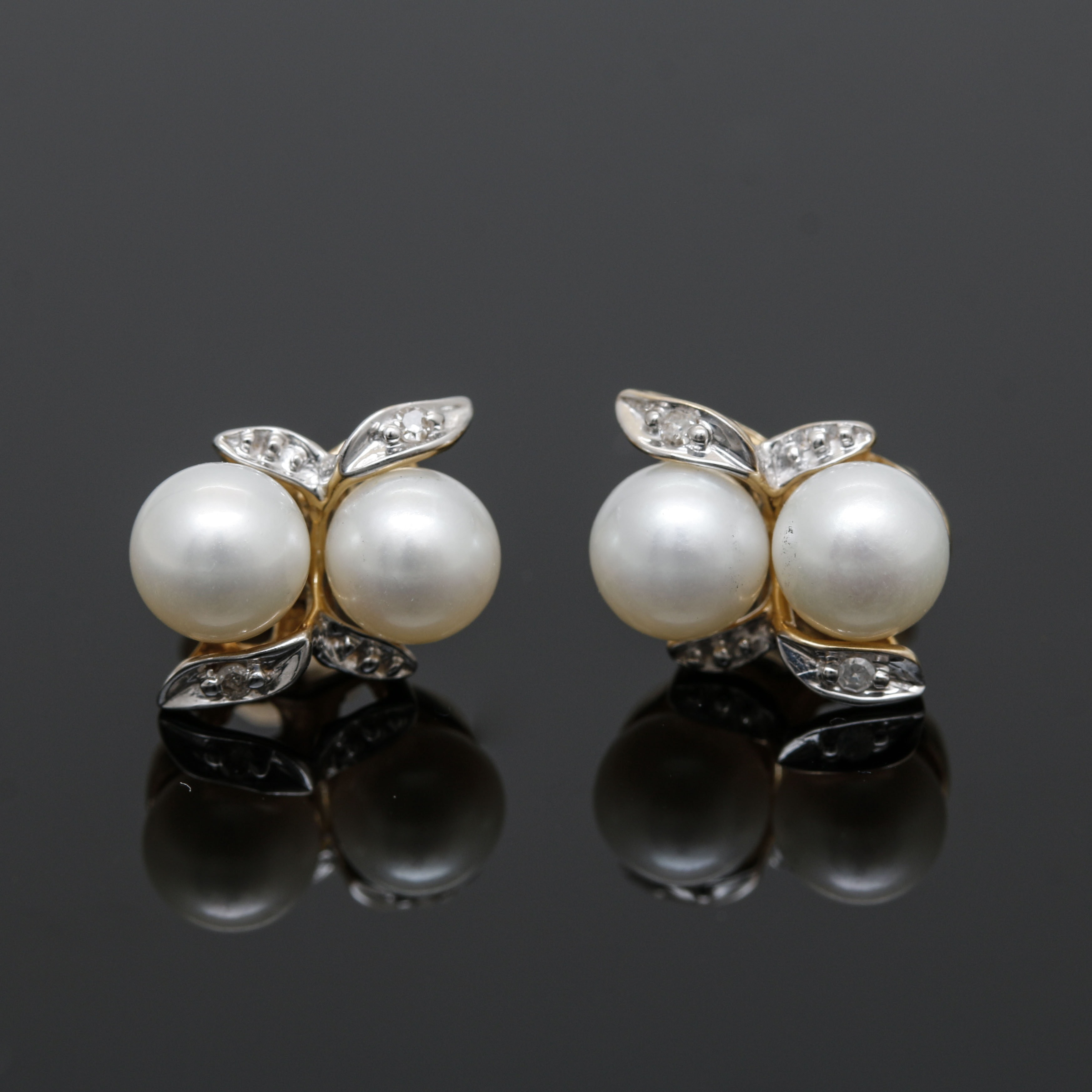 Alwand Vahan 14K Yellow and White Gold Cultured Pearl and Diamond Earrings