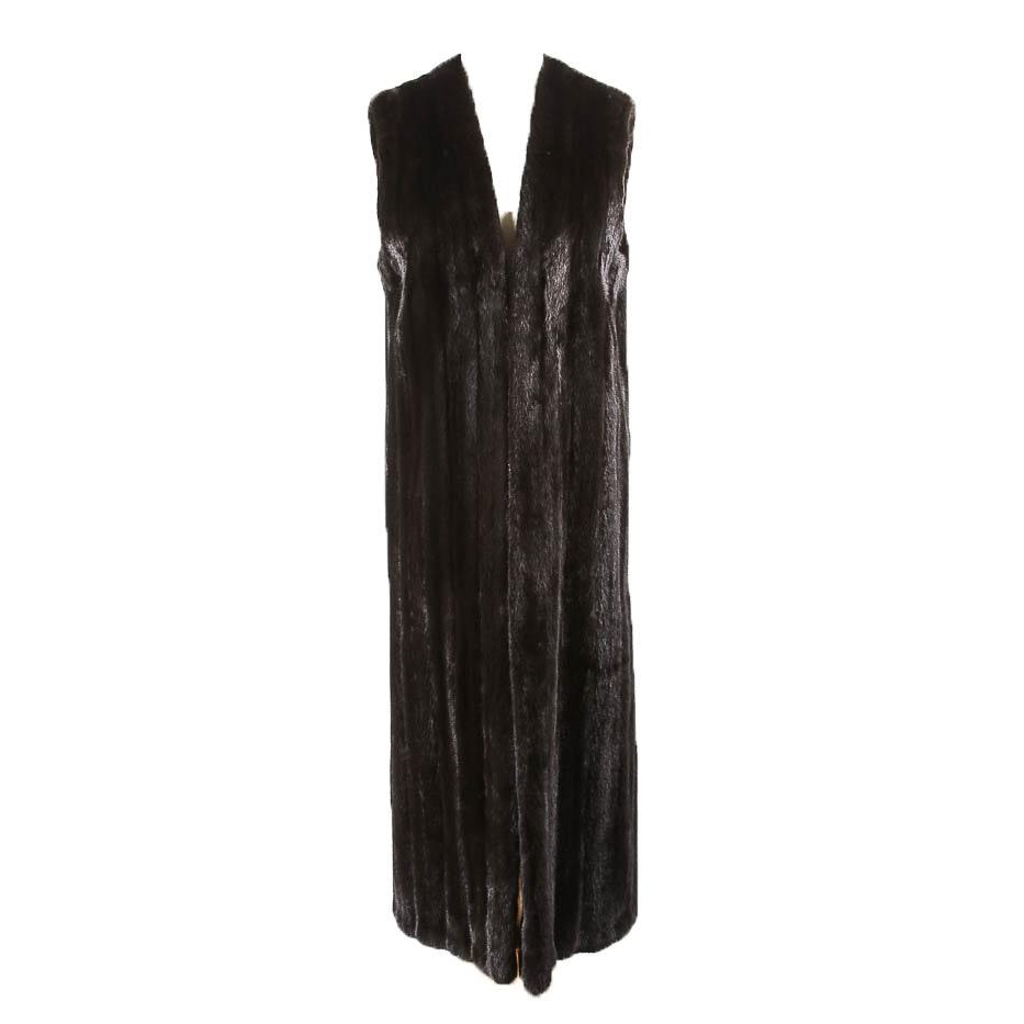 Long Brown Mink Fur Vest
