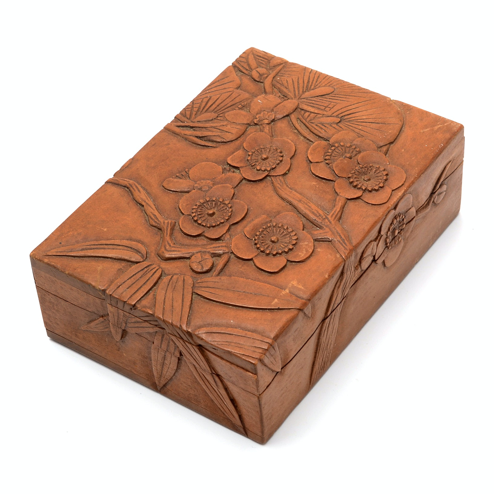 Shōwa Period Carved Wood Box with Cherry Blossoms