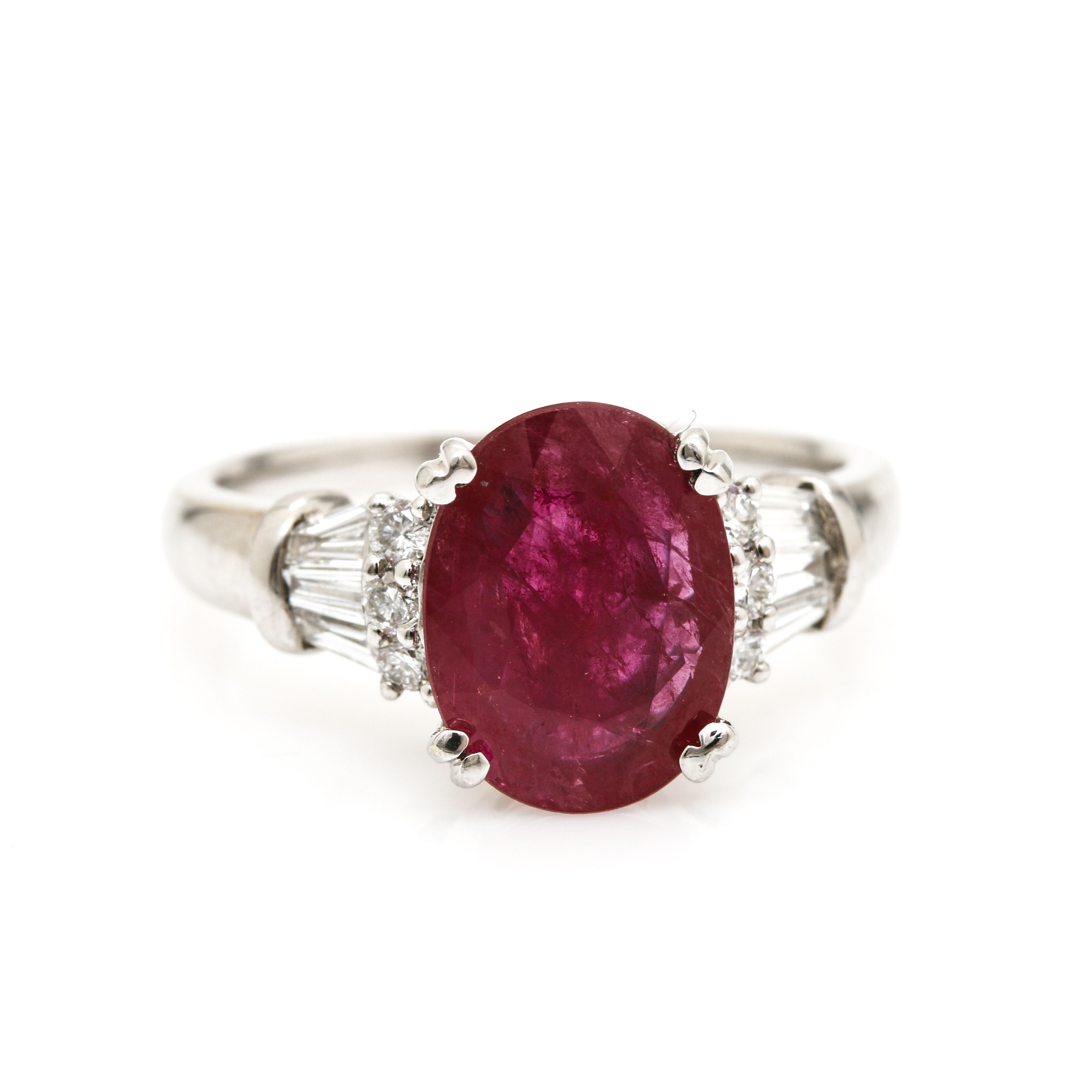 14K White Gold 1.85 CT Ruby and Diamond Ring