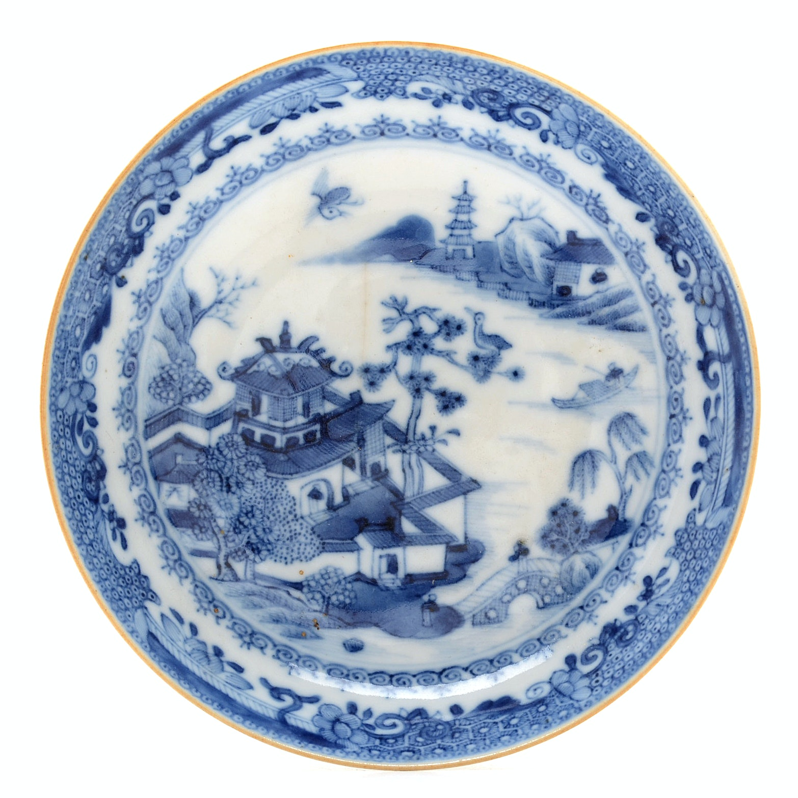 Qing Dynasty Blue and White Porcelain Saucer