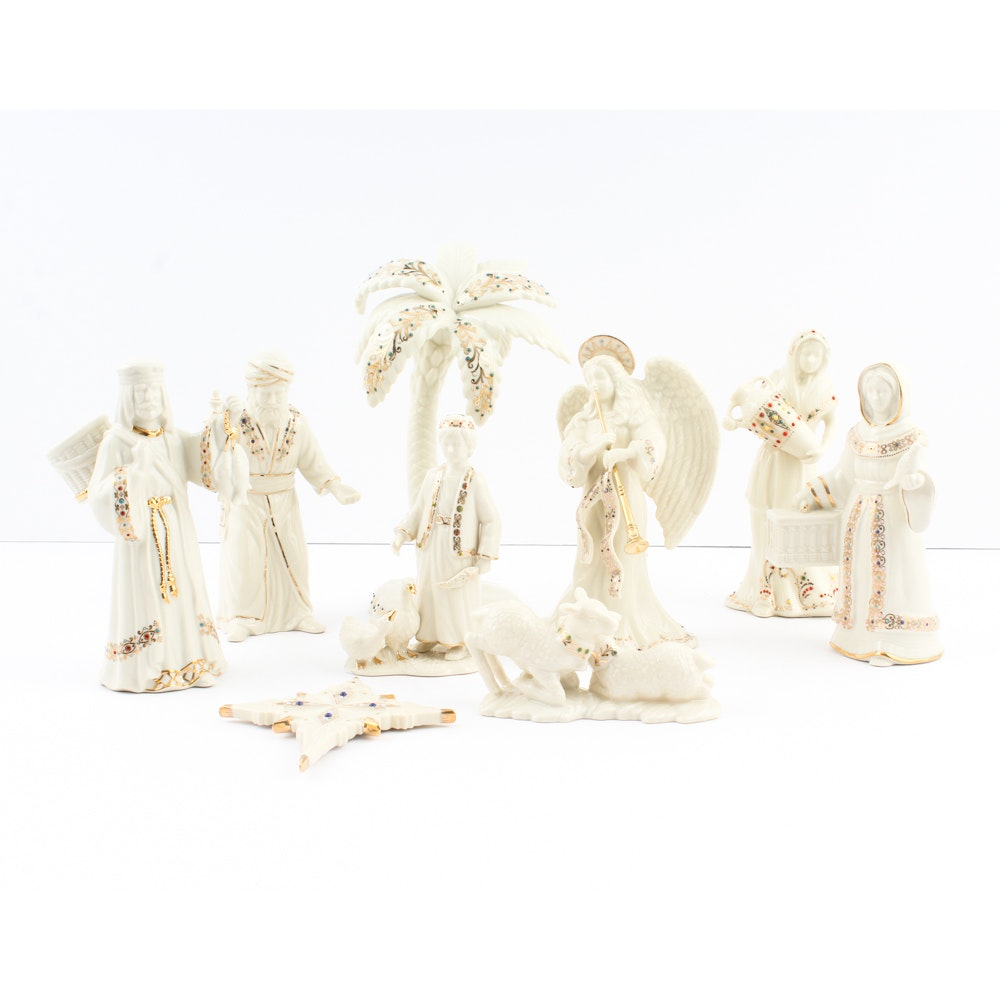 "Lenox ""For The Holidays"" China Jewels Nativity Figurines"