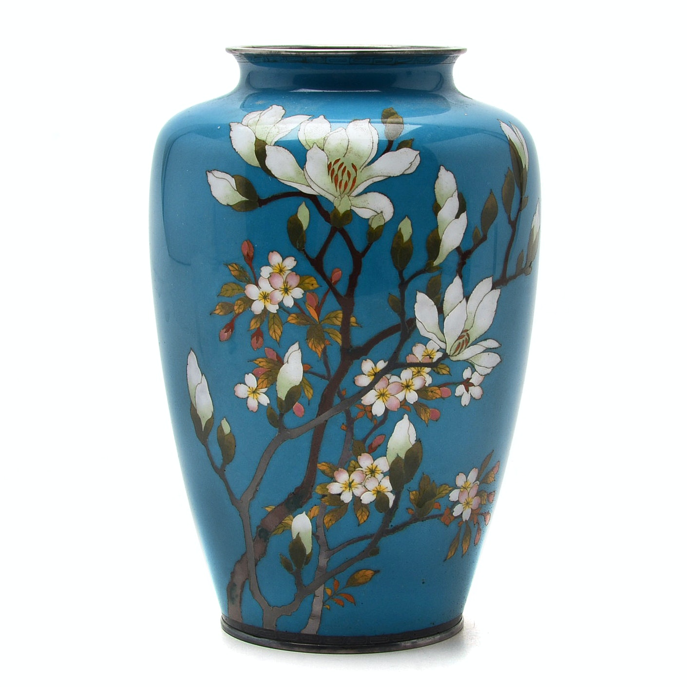 Early 20th Century Japanese Cloisonné Silver Wire Vase
