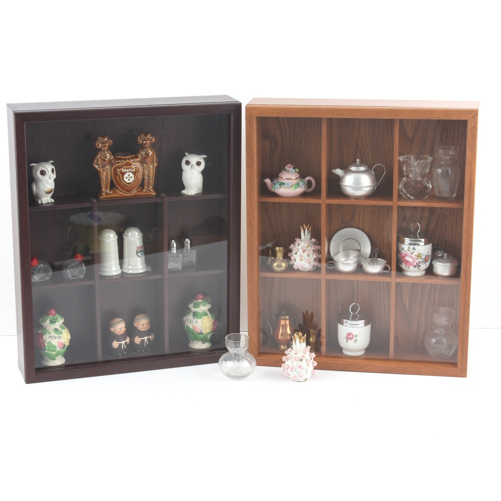 Vintage Shakers and Collectibles in Display Cabinets