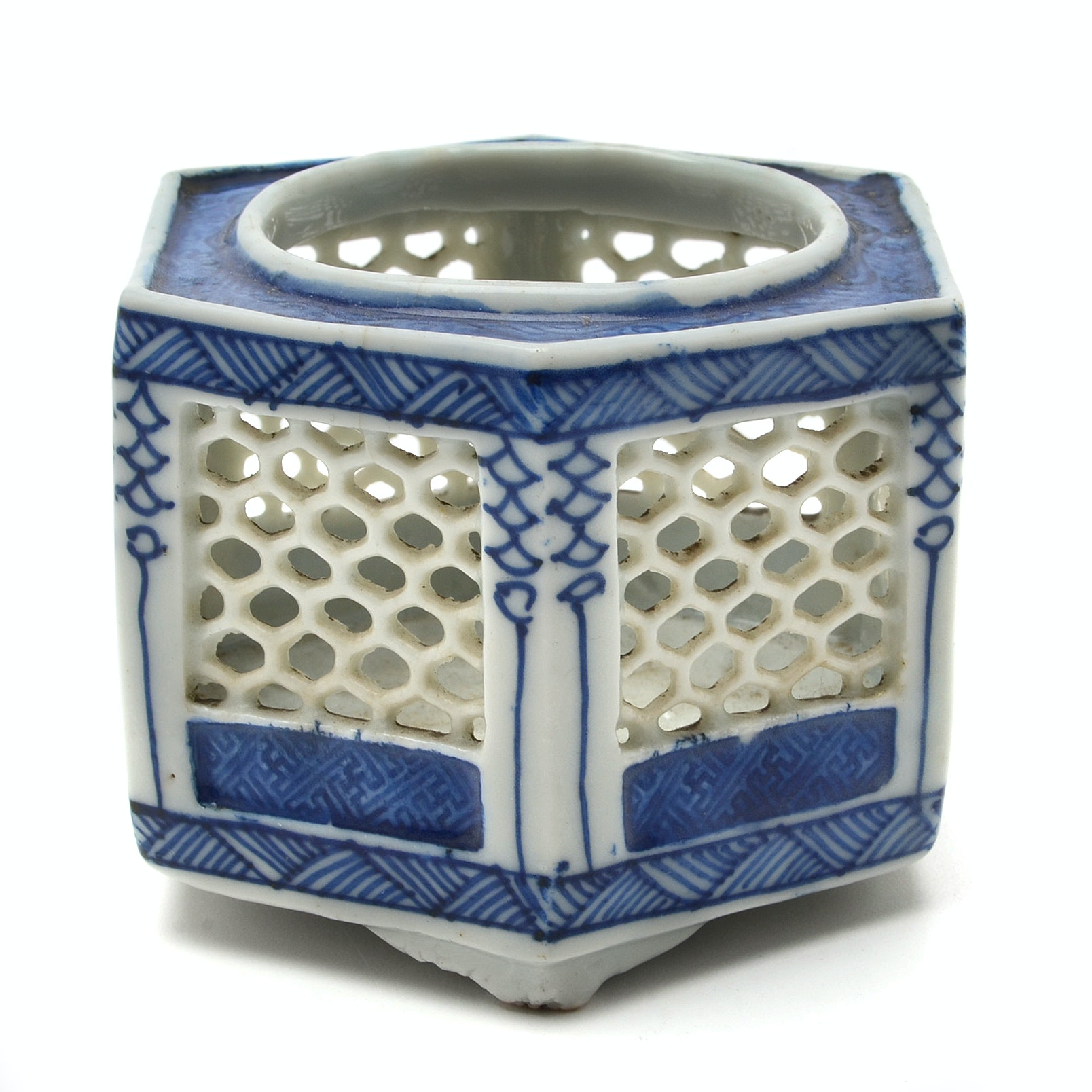 Early 20th Century Chinese Porcelain Hand-Painted Cricket Cage