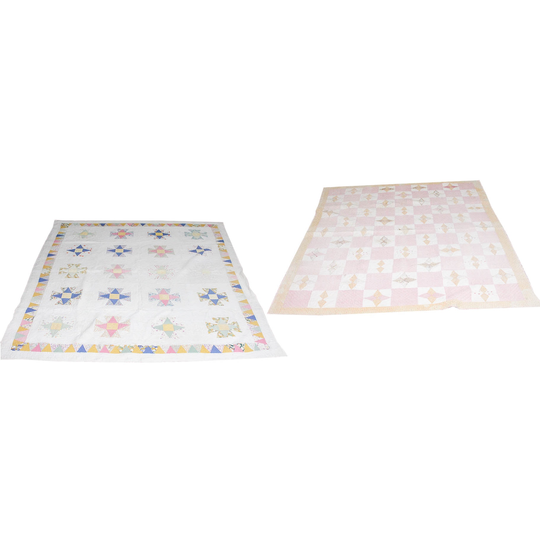 Pair Vintage Four Pointed Star Motif Cotton Quilts