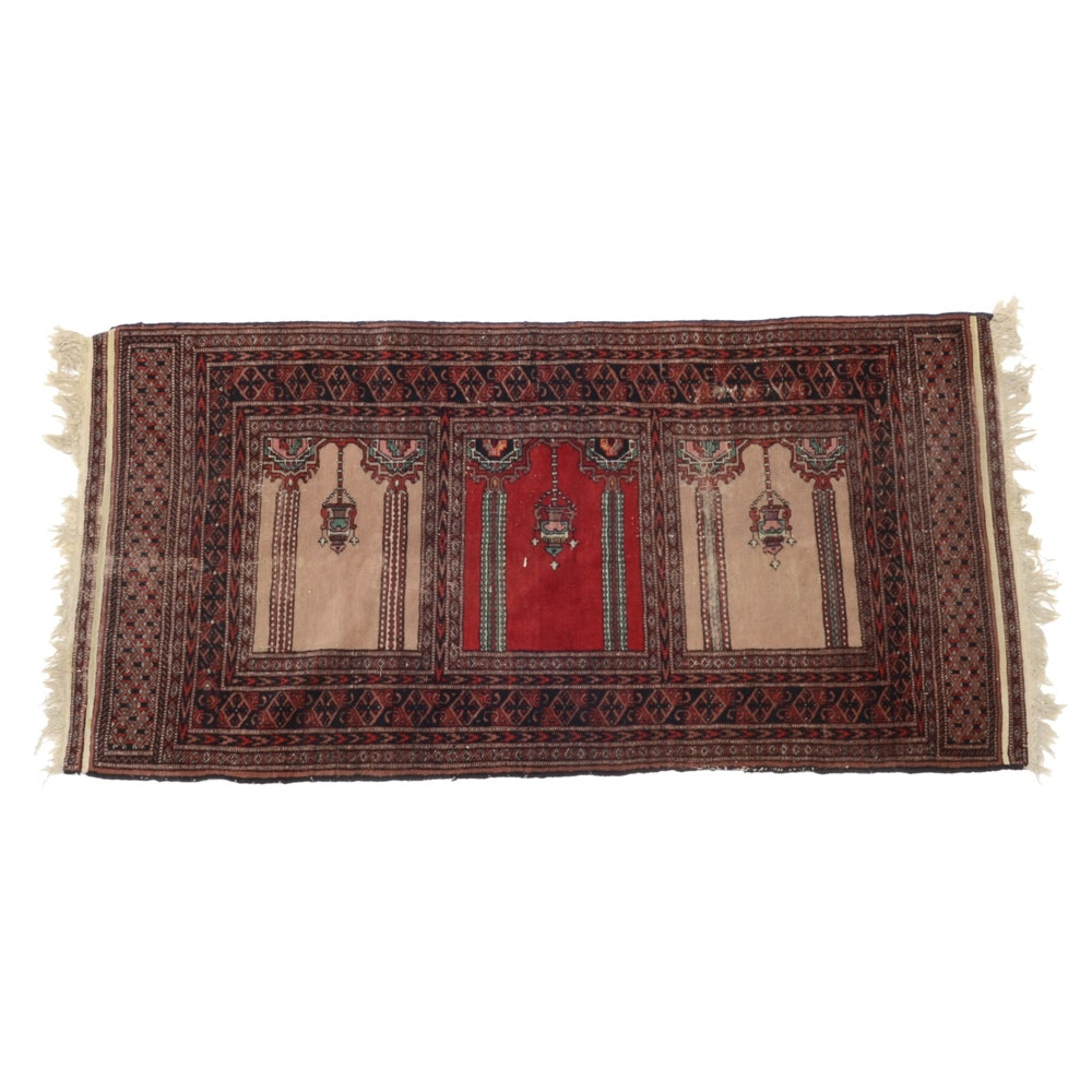 Hand-Knotted Pakistani Style Wool on Cotton Saph Prayer Rug