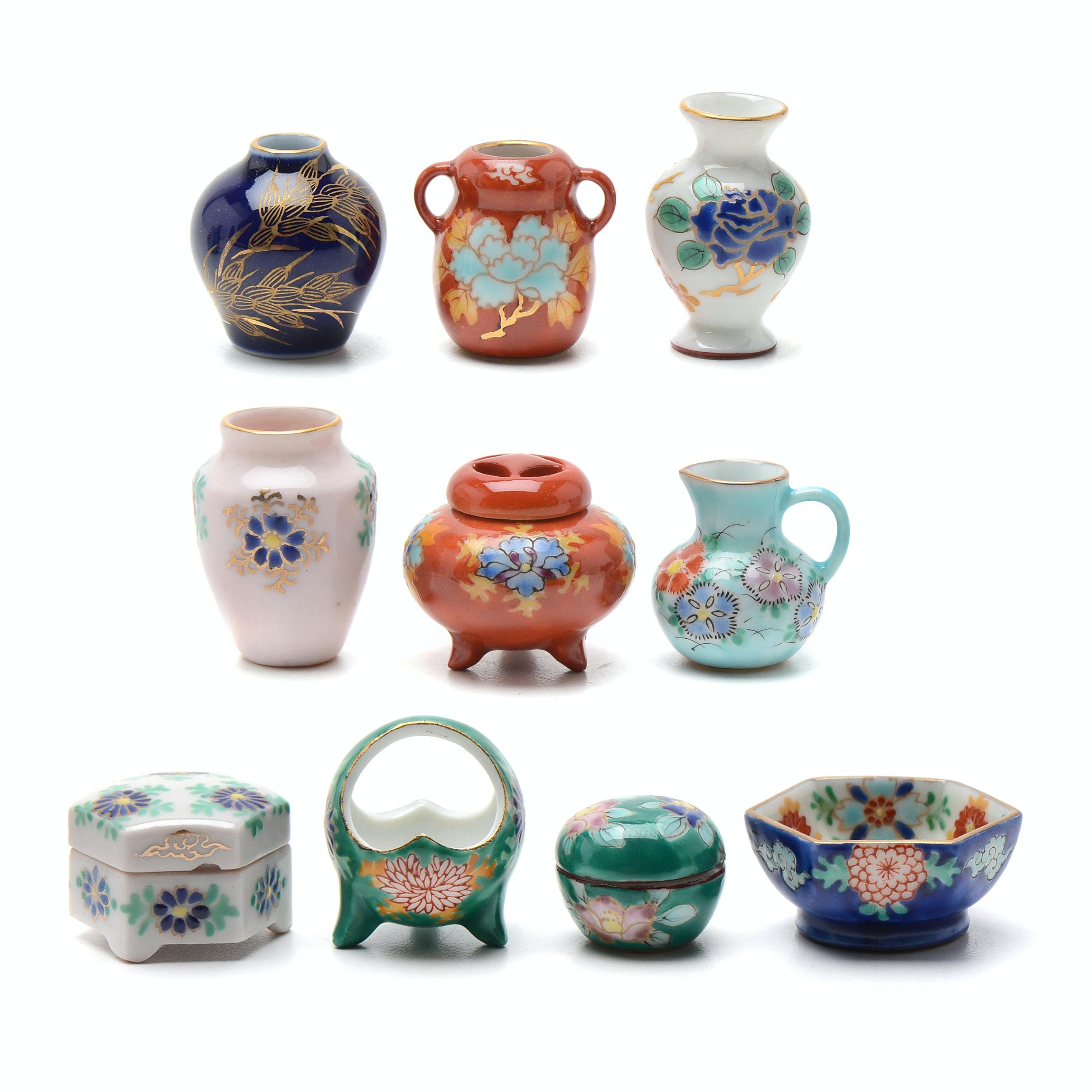 Vintage Ide Pottery Japanese Enameled Porcelain Miniature Set