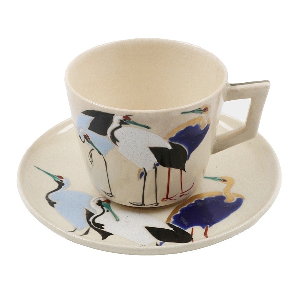 Antique Japanese Satsuma Ware Cup and Saucer with Crane Motif