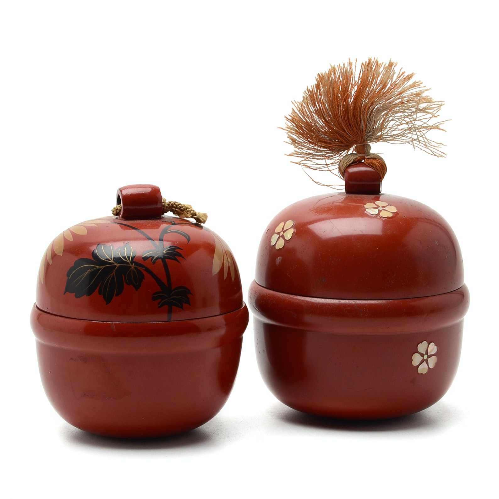 Japanese Red Lacquer Lidded Containers