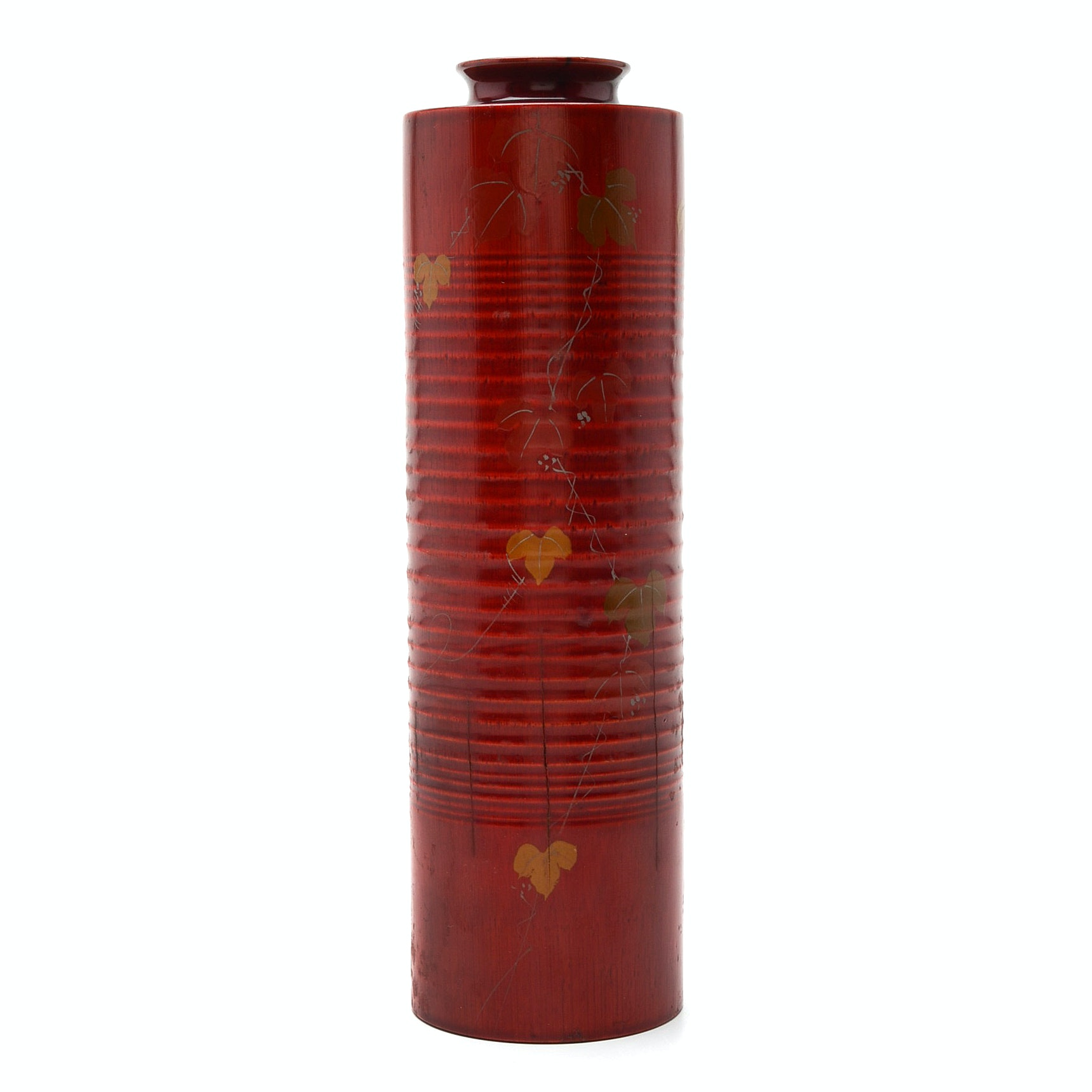 Japanese Red Lacquer Cylindrical Vase