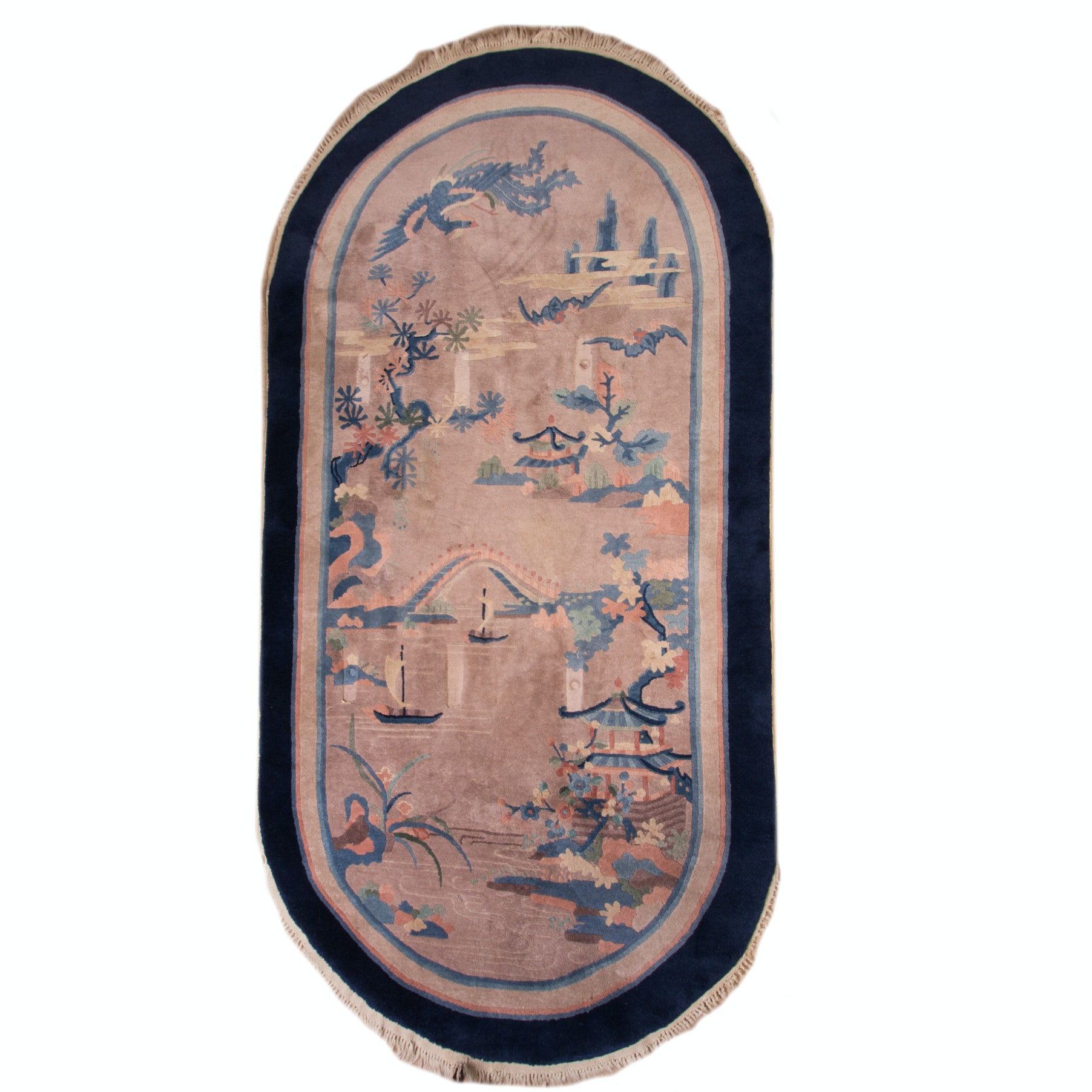 Handwoven Oval Pictorial Area Rug