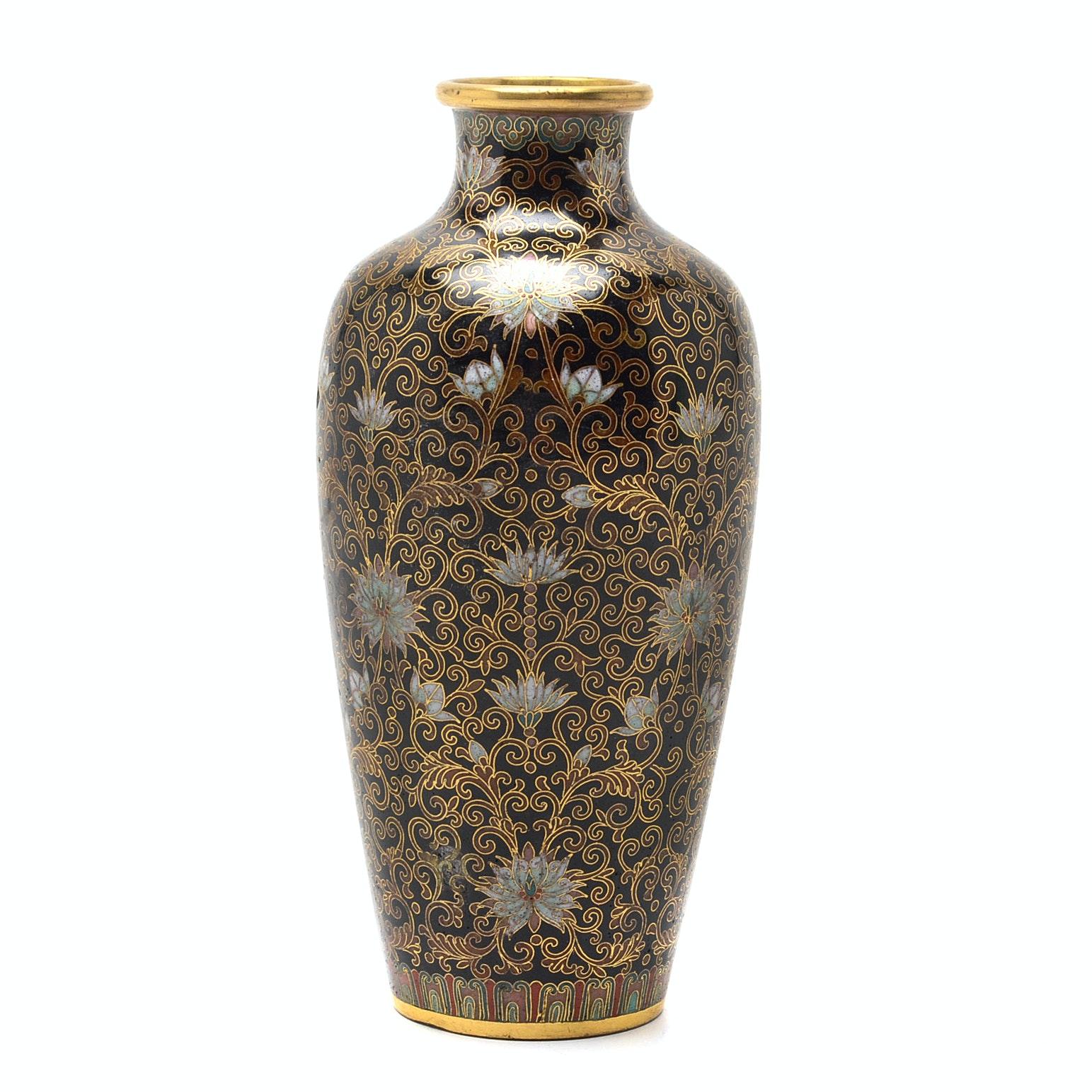 Meiji Era Japanese Cloisonné Brass Vase