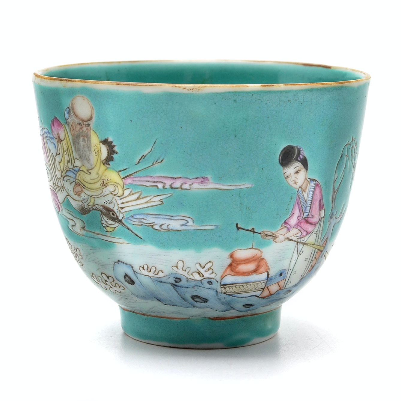 Chinese Daoguang Period Turquoise Ground Famille Rose Porcelain Cup