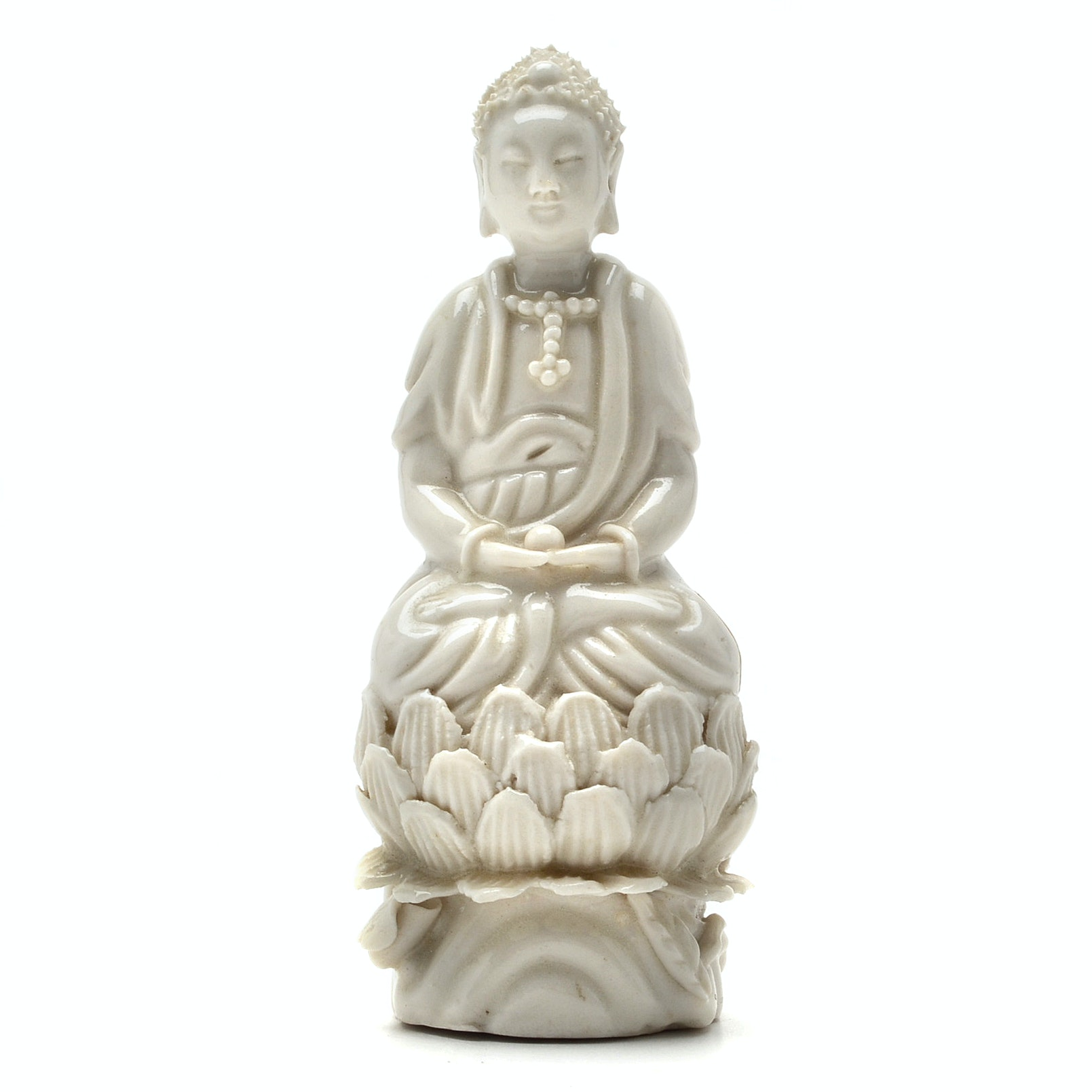 "Chinese Qing Dynasty ""Blanc de Chine"" Seated Guanyin"