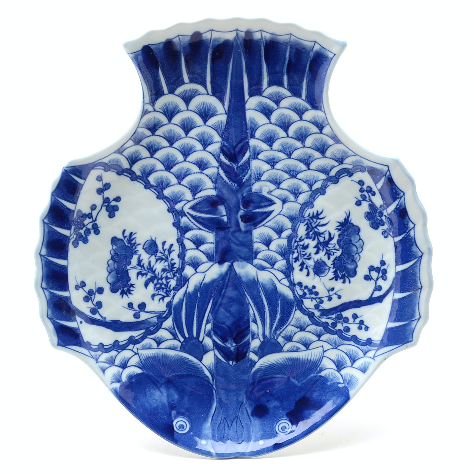 Japanese Arita Blue and White Double-Fish Plate