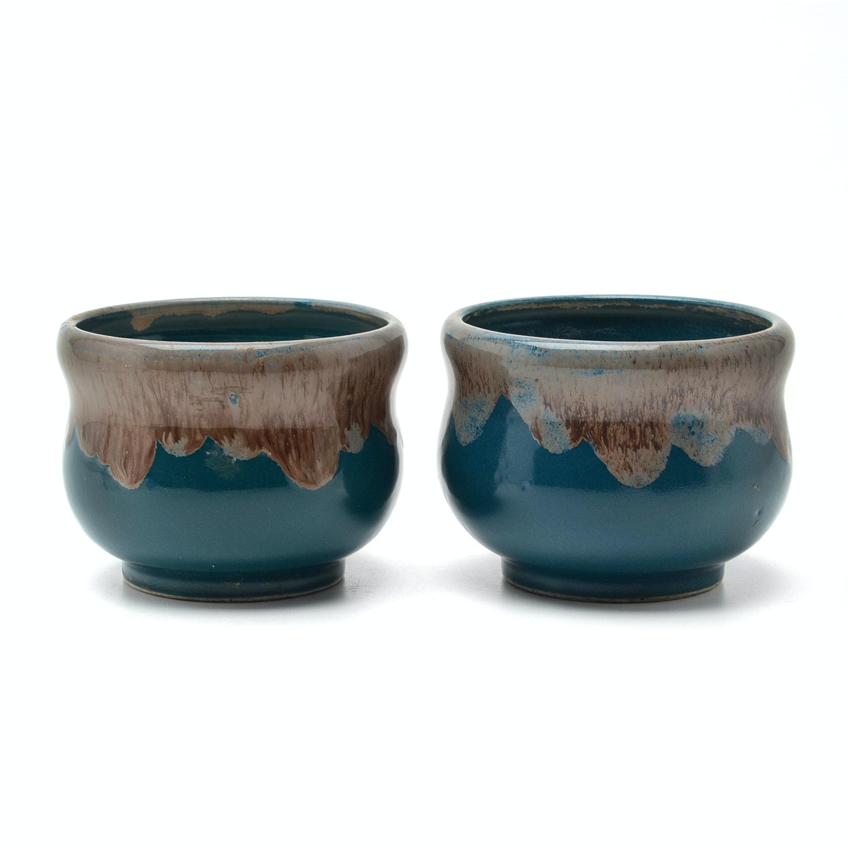 Pair of Japanese Green Glazed Porcelain Tea Bowls