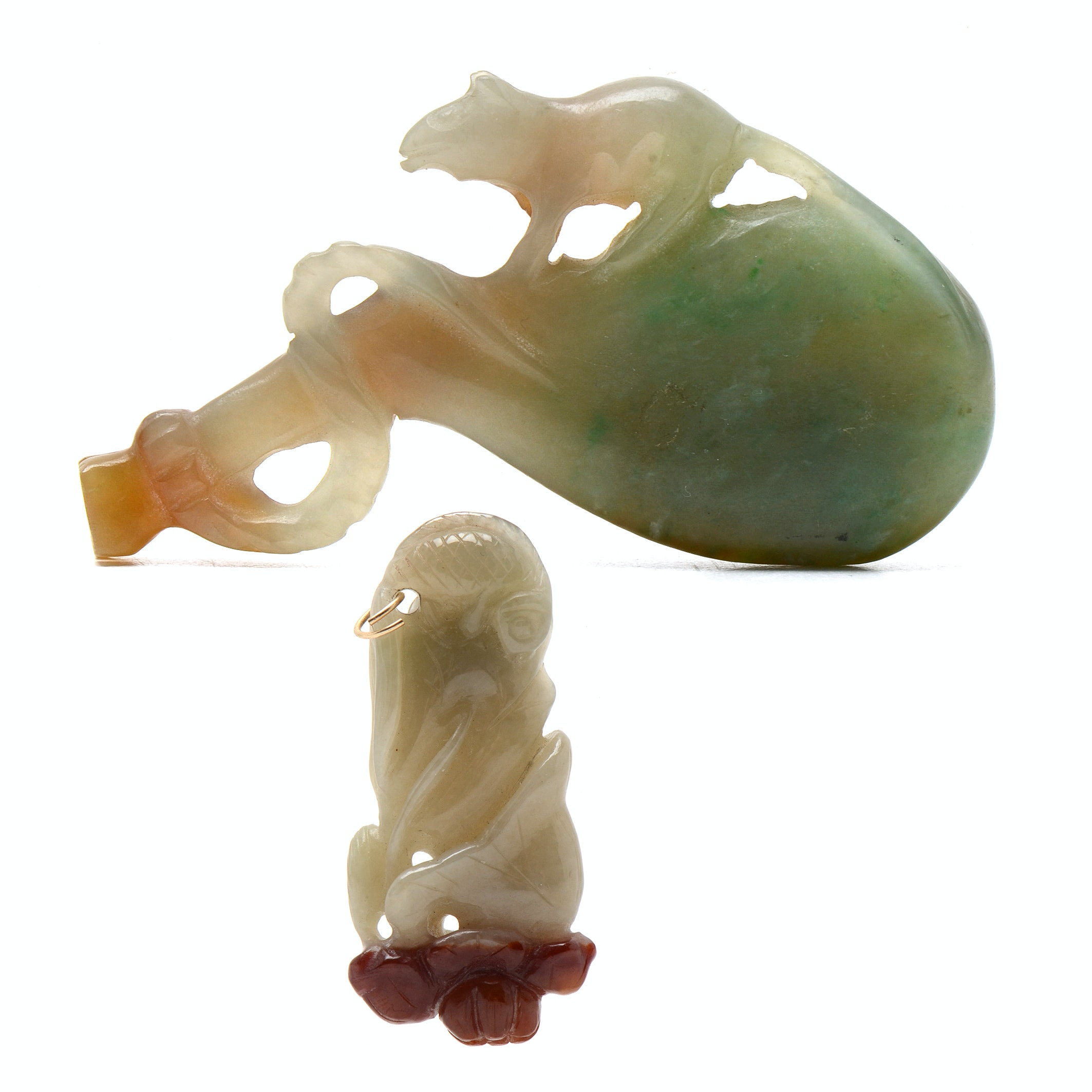 Pairing of Chinese Carved Jadeite Talismans