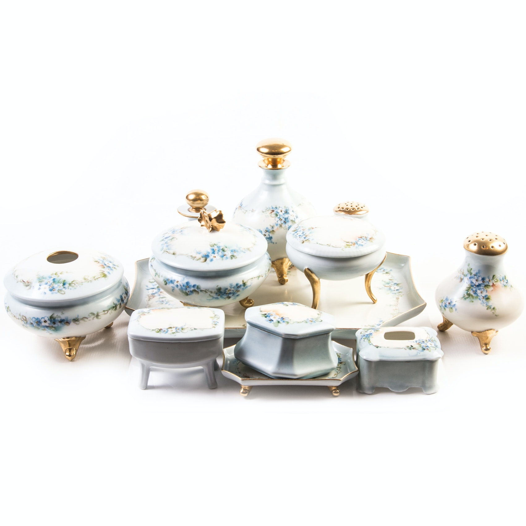 Vintage Hand Painted Porcelain Vanity Set