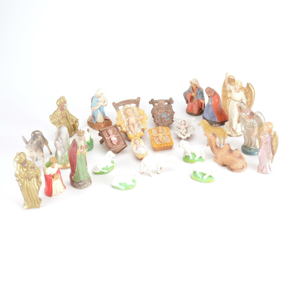 Vintage Resin and Plastic Nativity Christmas Figures