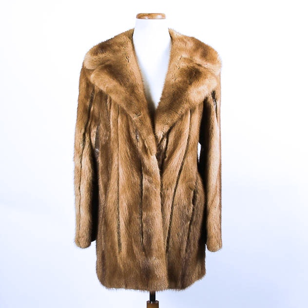 Hudson's Brown Mink Fur Car Coat