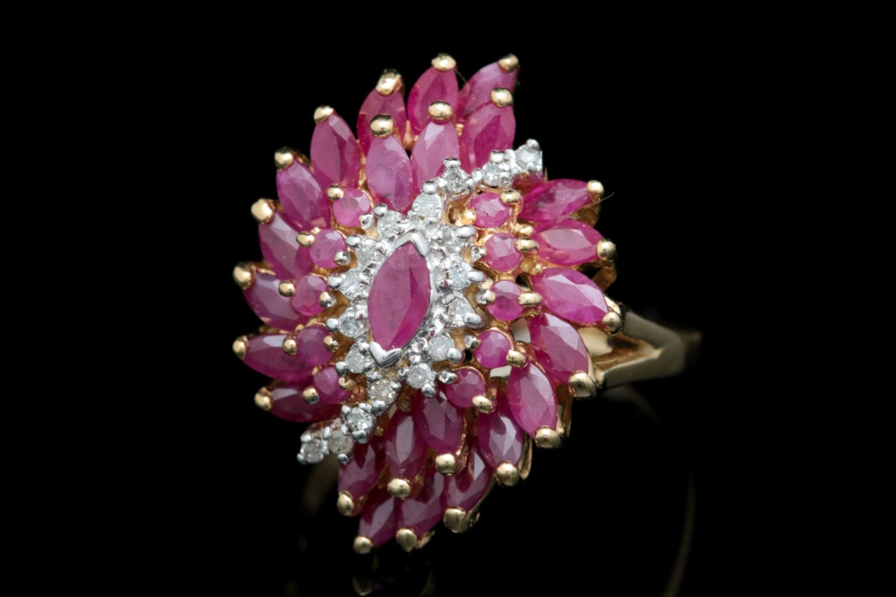 14K Yellow Gold, 3.00 CTW Ruby and Diamond Cocktail Ring