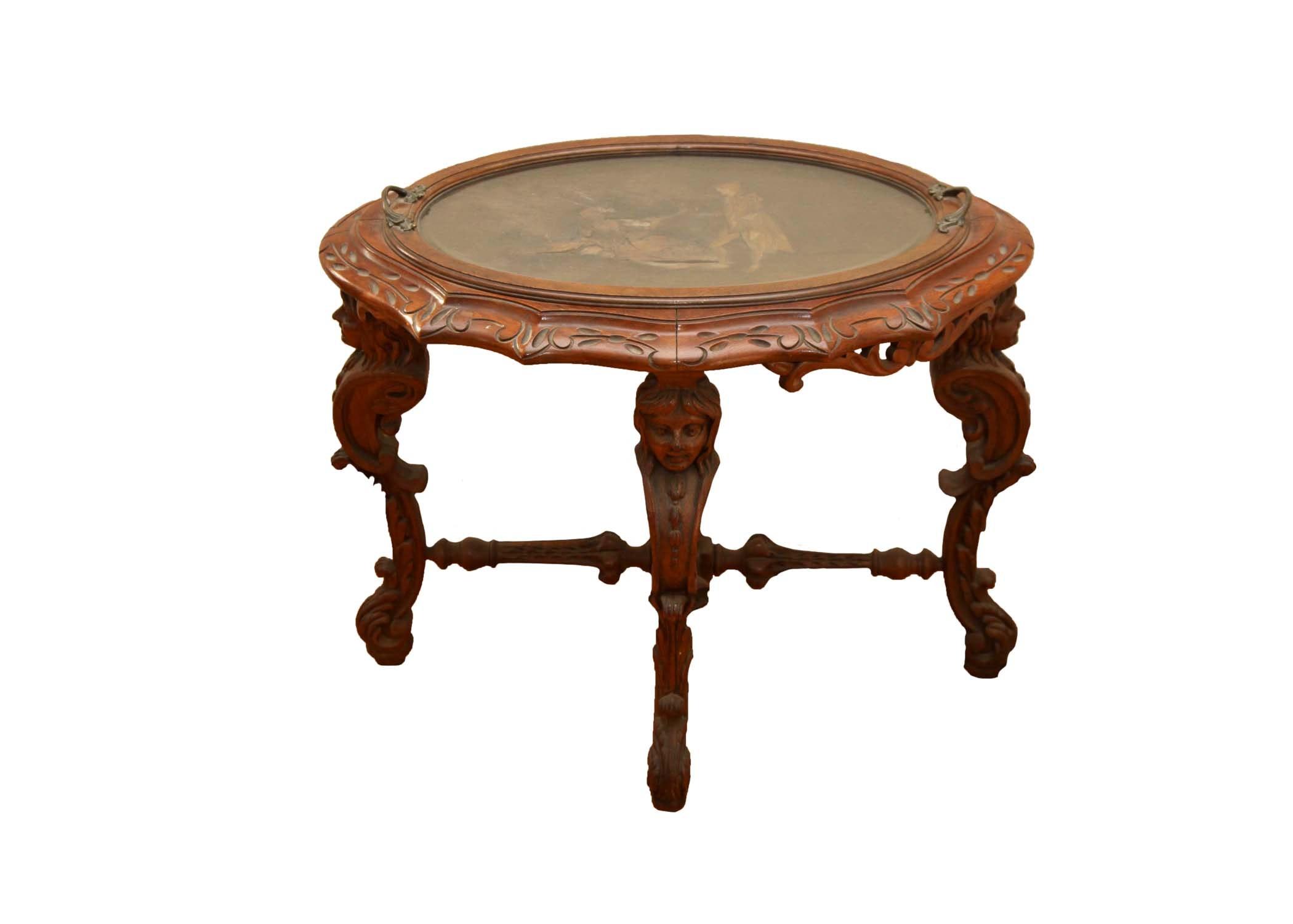 Vintage Renaissance Revival Style Mahogany Tray Table