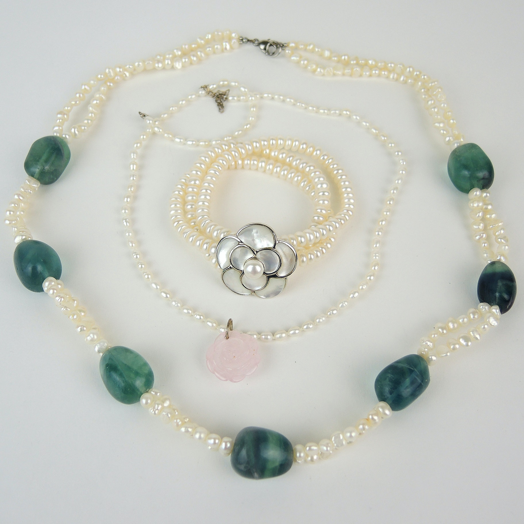 Sterling and Freshwater Pearl Jewelry Featuring Fluorite and Rose Quartz