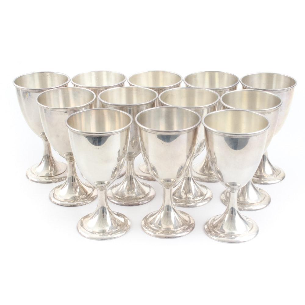 Simpson, Hall, Miller & Co. Sterling Silver Wine Goblets for Twelve
