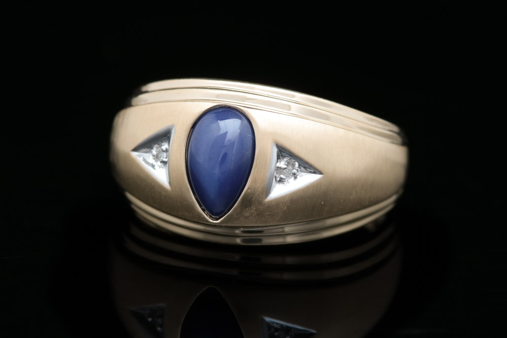14K Yellow Gold, Synthetic Star Sapphire and Diamond Ring
