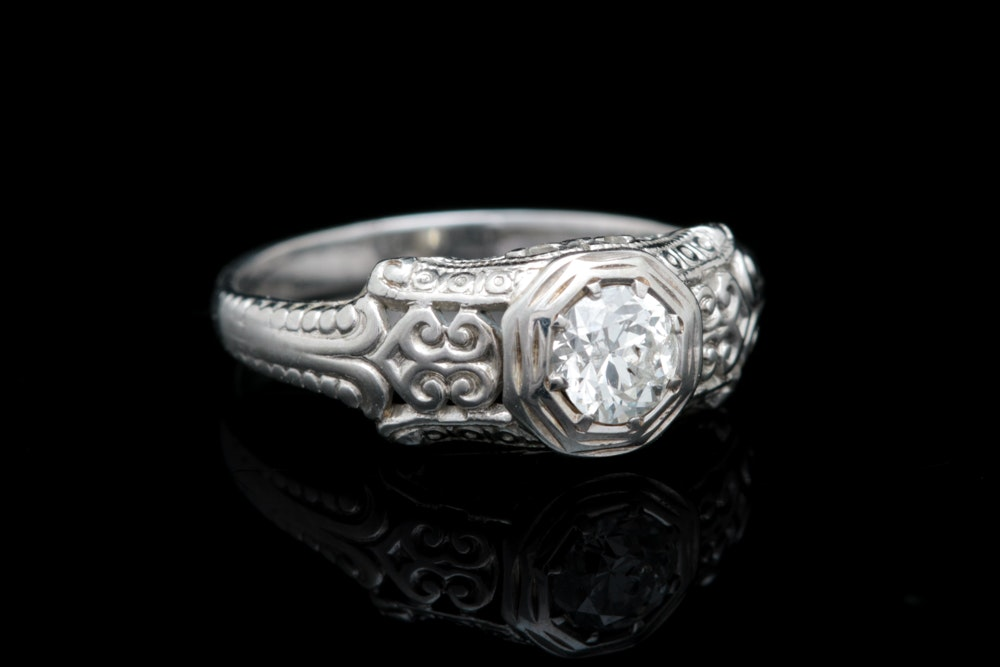 14K White Gold and Diamond Solitaire Engagement Ring