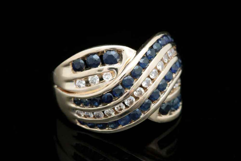 14K Yellow Gold, 1.00 CTW Blue Sapphire and Diamond Cocktail Ring