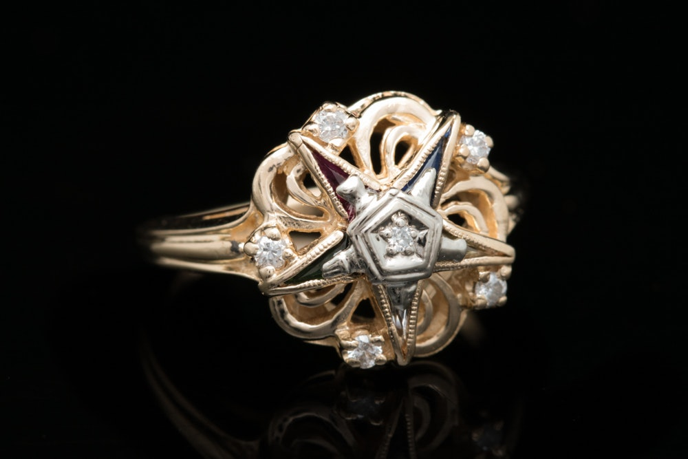 Vintage 10K Gold, Diamond and Multi-Gemstone Order of the Eastern Star Ring