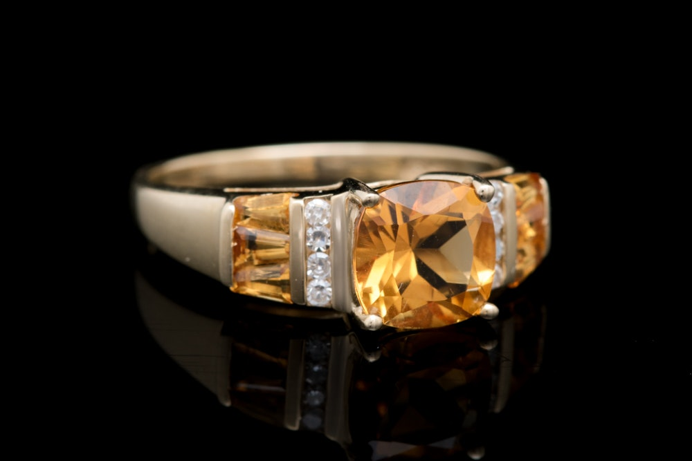 10K Yellow Gold, Citrine and Diamond Cocktail Ring