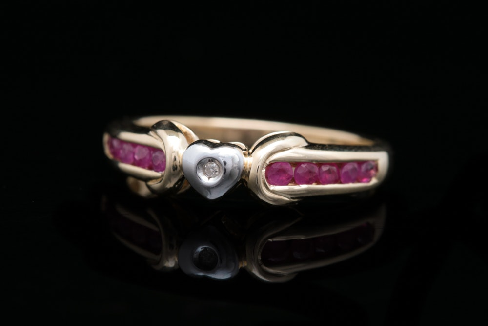 10K Yellow Gold, Ruby and Diamond Cocktail Ring