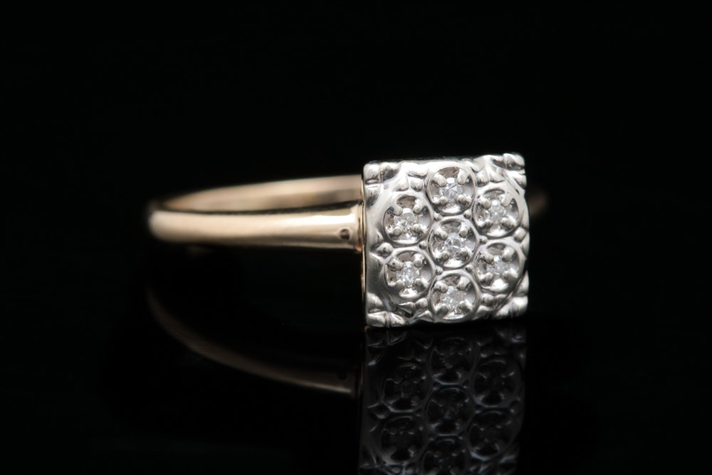 10K Yellow Gold and Diamond Cluster Ring