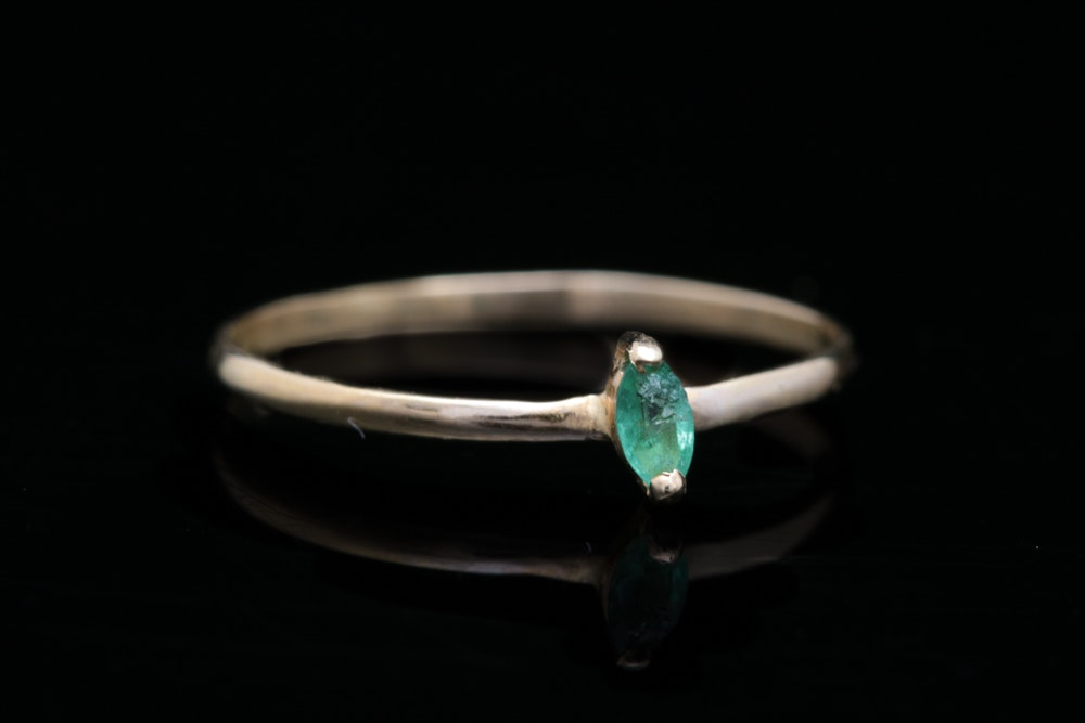 14K Yellow Gold and Marquise Emerald Solitaire Ring