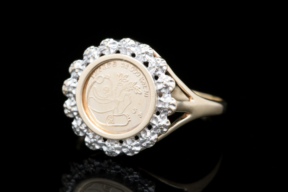 10K Yellow Gold, Replica Panda Coin and Diamond Ring