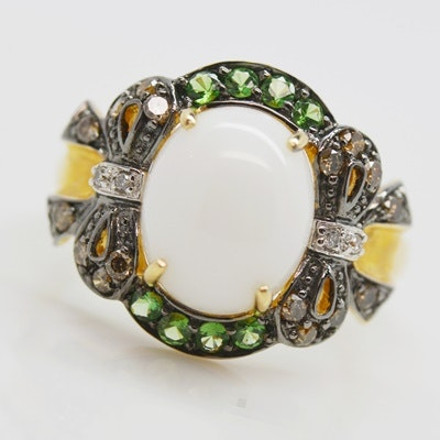 14K Yellow Gold Nephrite, Chrome Diopside and Diamond Ring