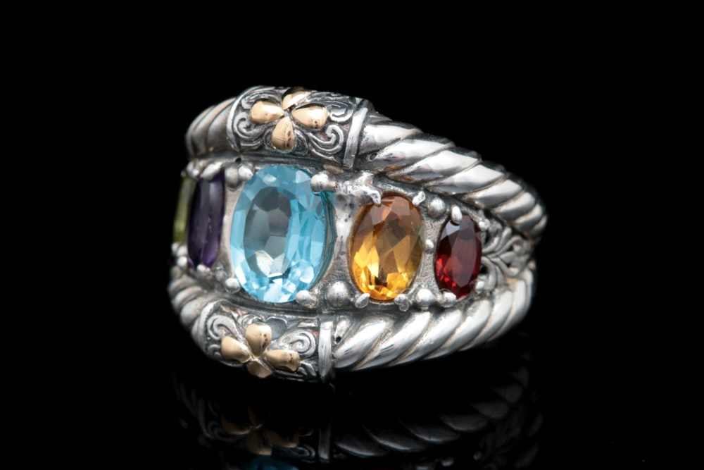 Sterling Silver, 18K Yellow Gold and Multi-Gemstone Cocktail Ring