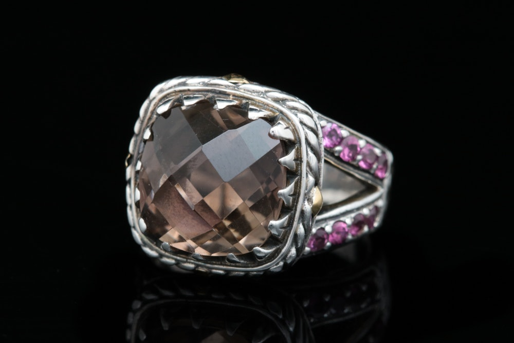 Robert Manse Sterling Silver, 18K Yellow Gold, Smoky Quartz and Rhodolite Ring